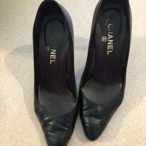Chanel black leather heels